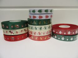 2 metres or full roll 15mm Christmas Satin Ribbon Reindeer Santa's Snowman Xmas